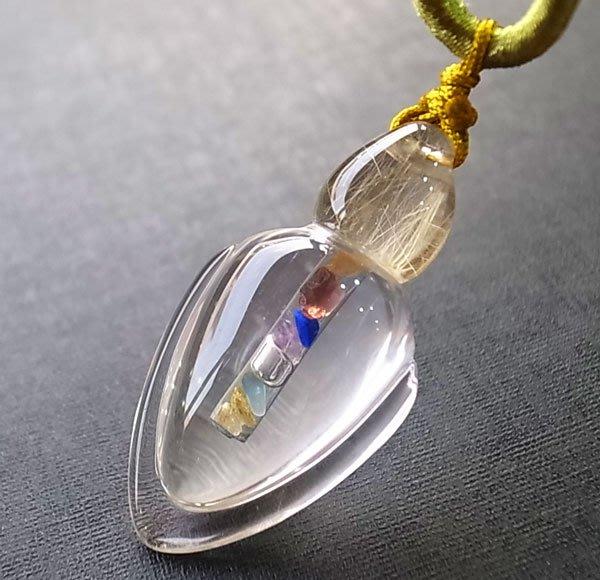 ☆采鑫天然寶石☆**幸運寶瓶** 頂級金髮鈦晶+白水晶墜~極美珍藏~訂製款~附結繩項鍊