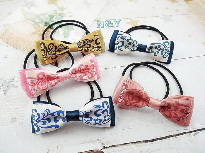 中國風青花瓷絲帶蝴蝶結髮圈髮飾髮繩馬尾髮圈HA72 ☆【N&Y】【現貨】