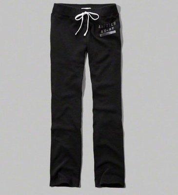 【天普小棧】A&F Abercrombie&Fitch Skinny Sweatpants合身運動休閒長棉褲黑色M號