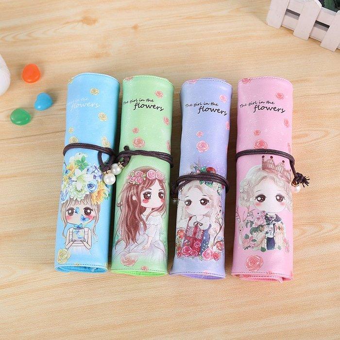MY#爆款#新款中小學生女創意韓版pu卷筆袋可愛女孩卡通鉛筆袋筆簾
