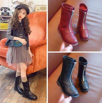 女童鞋 馬丁靴子 兒童高筒公主單靴 韓版皮靴  長靴—莎芭