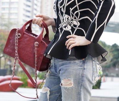 Chanel A92757 Caviar Bowling Bag 小型荔枝紋鍊帶肩背包 紅 台北市