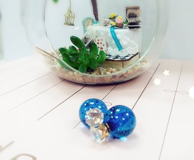 ☆Sweet Dream☆唯美清新氣質款水鑽皇冠透明藍銀箔糖球2用耳環大力丸70元 正韓直送 韓國代購 滿399免