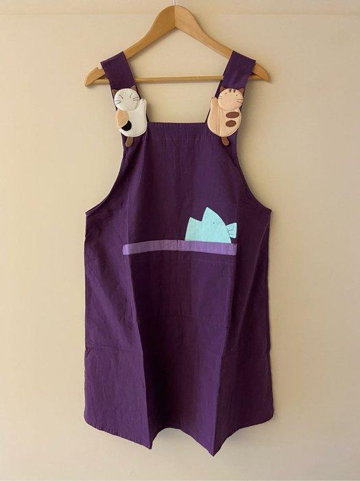 日本卡拉貓~二貓大魚四口袋圍裙 工作服