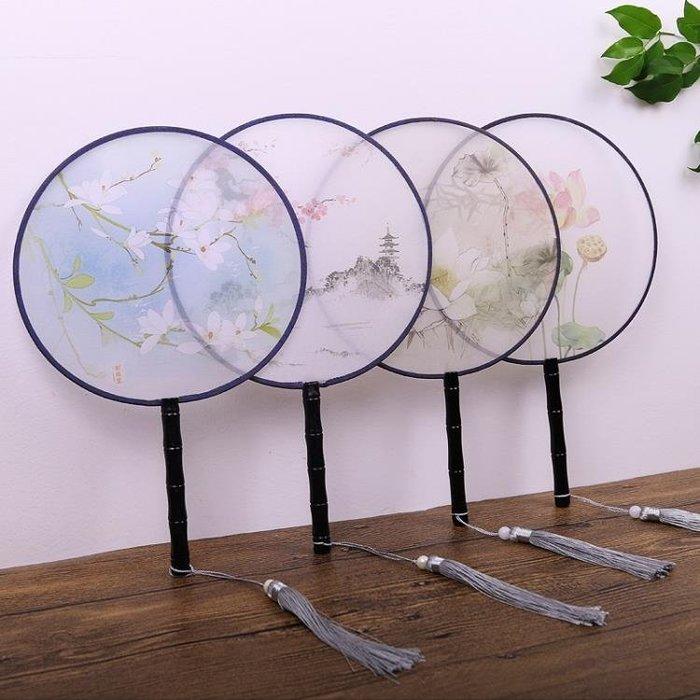 扇子 半透明絲團扇宮扇圓形扇子舞蹈扇中國風古典風女式小扇 【安可居】