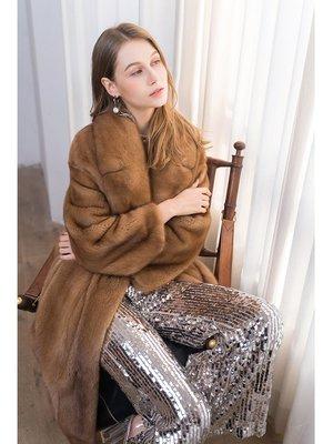 'OVERCOAT'進口天鵝絨帕斯條西裝領女士長水貂大衣 貂皮大衣女整貂