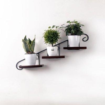 ZIHOPE 創意墻上花架壁掛免打孔復古鐵藝花盆架懸掛墻壁裝飾架掛墻置物架ZI812