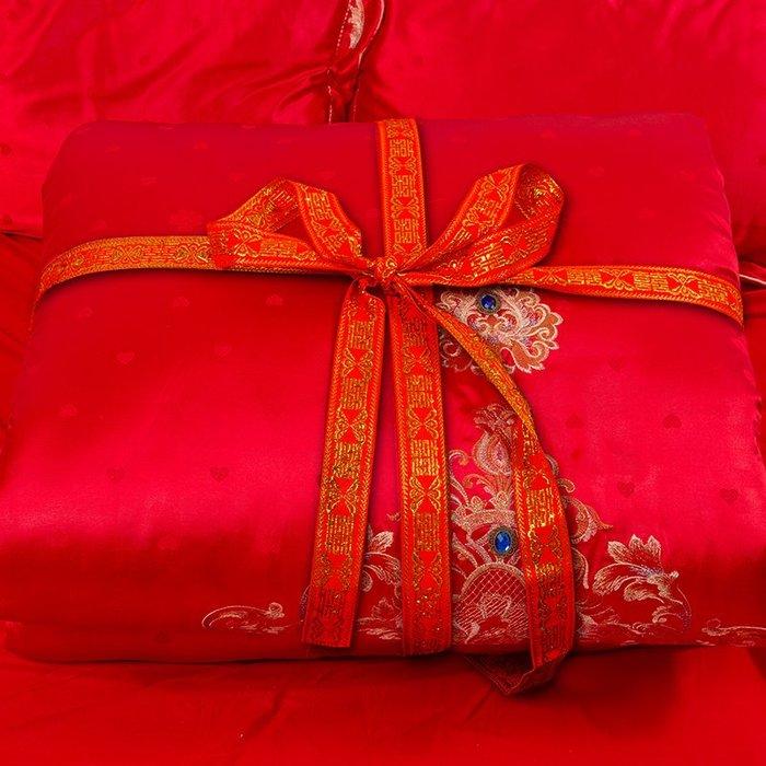 【berry_lin107營業中】結婚喜慶喜被子捆綁帶新娘嫁妝紅繩子喜糖盒包裝絲帶新人喜字紅帶