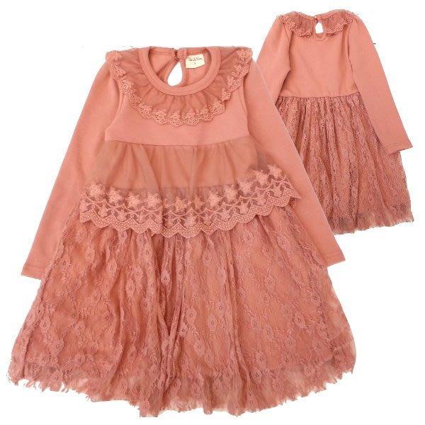 【班比納精品童裝】領蕾絲胸下蕾絲裙洋裝-豆粉【BM150128011】