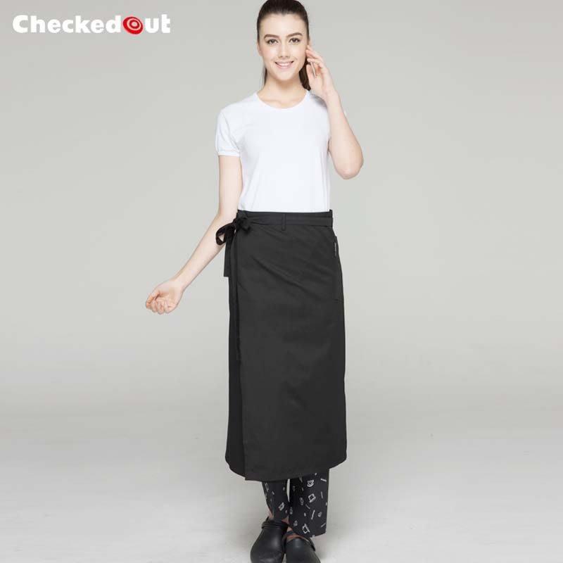 【制服工廠店】Checked Out廚師圍裙黑色餐廳奶茶店咖啡廳廚房做飯服務員工作服半身圍腰定制