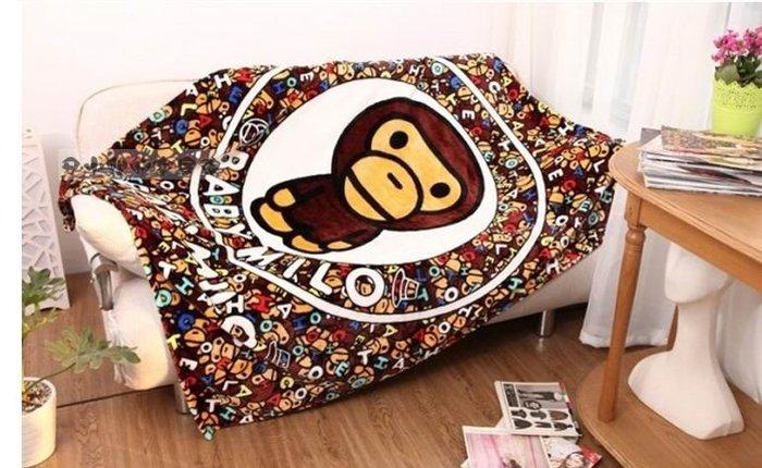 嘉芸的店 日本APE猿人 日本毛毯 水貂絨 珊瑚絨 猴子毛毯 BABY MILO 小猿人毛毯130*150CM