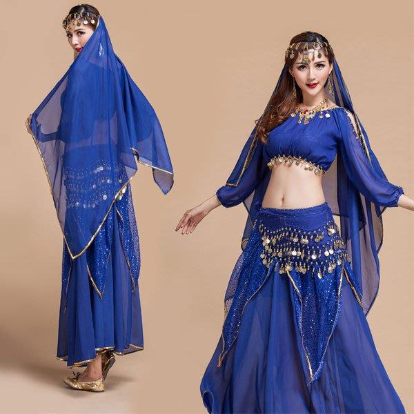 5Cgo【鴿樓】會員有優惠  40422775265 印度風吊幣長袖上衣蛋糕裙肚皮舞套裝印度服飾套裝印度舞裙 尾牙演出服