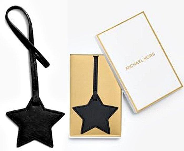 大降價!全新美國名牌 Michael Kors MK 黑色星星造型皮革製鑰匙圈掛飾吊飾,低價起標無底價!本商品免運費!