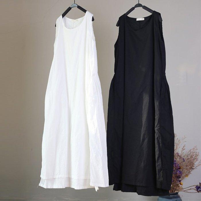 裙子 純棉無袖雙層復古寬鬆連身裙A字裙