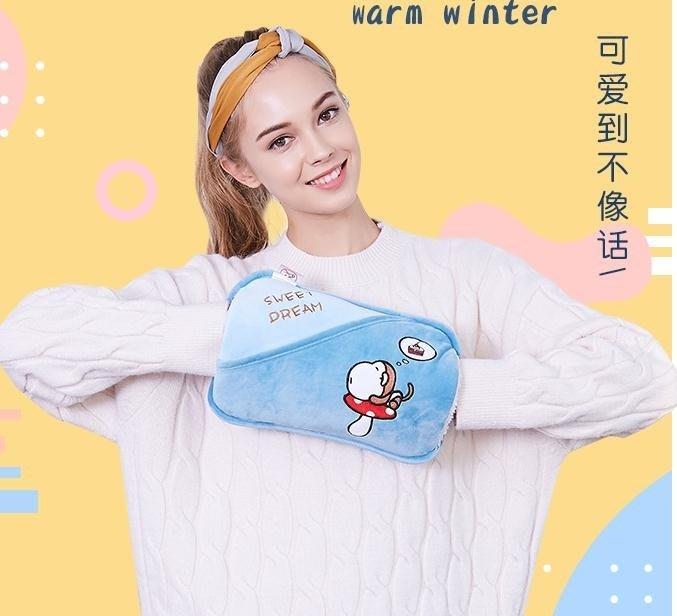 熱水袋 揚子防爆熱水袋充電式暖手寶煖寶寶毛絨萌萌可愛韓版注水女暖水袋  DF