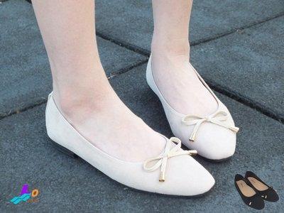 Lo流行女鞋~*好感輕著*小金飾綁結柔軟方頭平底鞋*