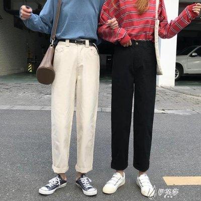 【蘑菇小隊】工裝褲秋季女裝韓版鬆緊腰寬鬆復古休閒褲工裝褲子高腰直筒褲闊腿褲長褲-MG42194