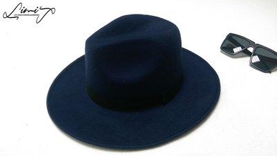 藏青色可調寬沿紳士帽 Wide brim hat 歐美 百搭 古著 復古  寬沿 大帽簷 【LtLf】