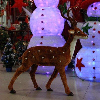 聖誕鹿仿真梅花鹿公仔商場櫥窗大型聖誕場景布置道具聖誕節裝飾品