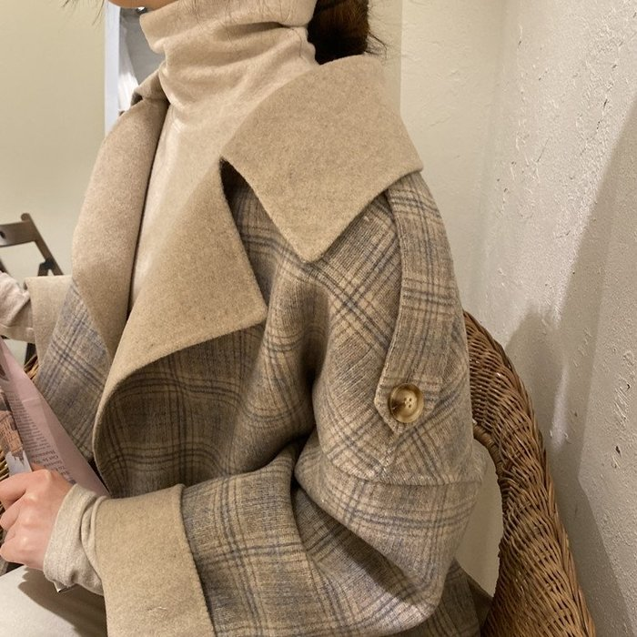 韓國雙面撞色格子秋冬手工雙面羊絨寬鬆大衣女羊毛外套.NL Select Shop .
