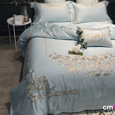 = cmCasa = [5525]歐式新古典大器經典設計 BlueCaesar刺繡床品四件組 多尺寸新發行