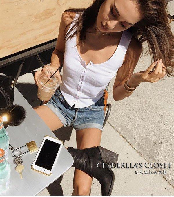 《仙杜瑞拉的衣櫃》s0945 螺紋貼身無袖 素色基本款短版上衣