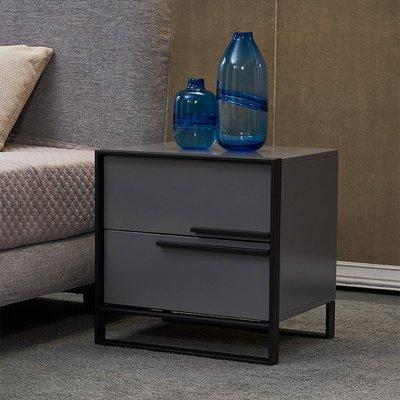 【苏漫家居】含運 現代簡約雙抽屜儲物床頭柜設計師床風格邊柜意大利時尚灰色收納柜