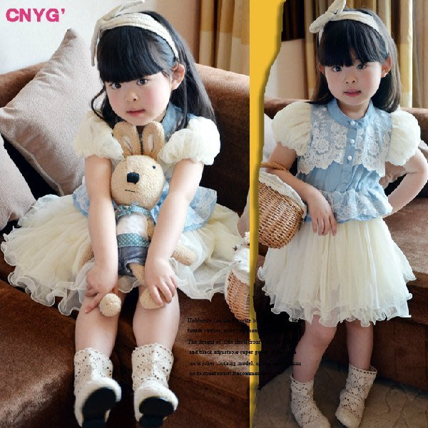 韓版《藍色蕾絲款》夢幻紗裙~短袖洋裝 (S2)