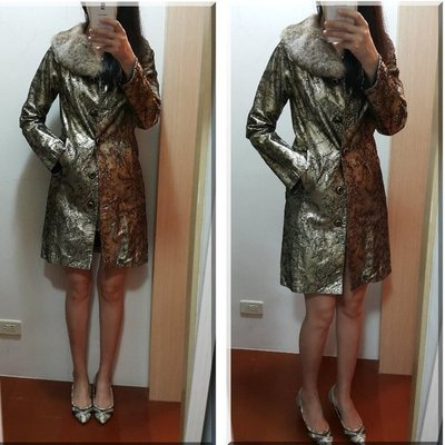 ~Dolce Gabbana D&G金屬蕾絲雕花風衣 新品正品40號 換季特價 皮草外套 辣妹最愛