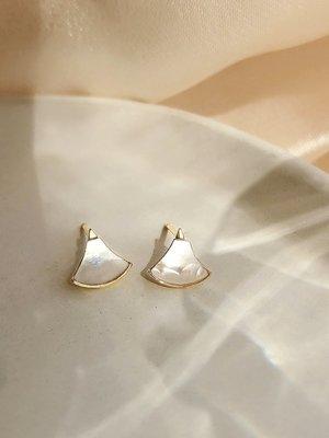 SWEET COVE~925銀貝殼扇形耳釘簡約設計感ins小眾網紅氣質耳環女2020新款潮