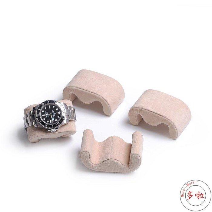 #促銷新款爆款推薦款絨布手錶枕頭手錶盒展示固定手鏈手鐲首飾盒飾品收納架手錶盒-多啦電子批發五金