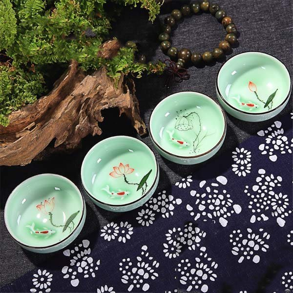 5Cgo【茗道】含稅會員有優惠 43434479462 茶具陶瓷茶杯龍泉青瓷彩鯉杯手工手繪青花金魚杯功夫品茗杯 8杯