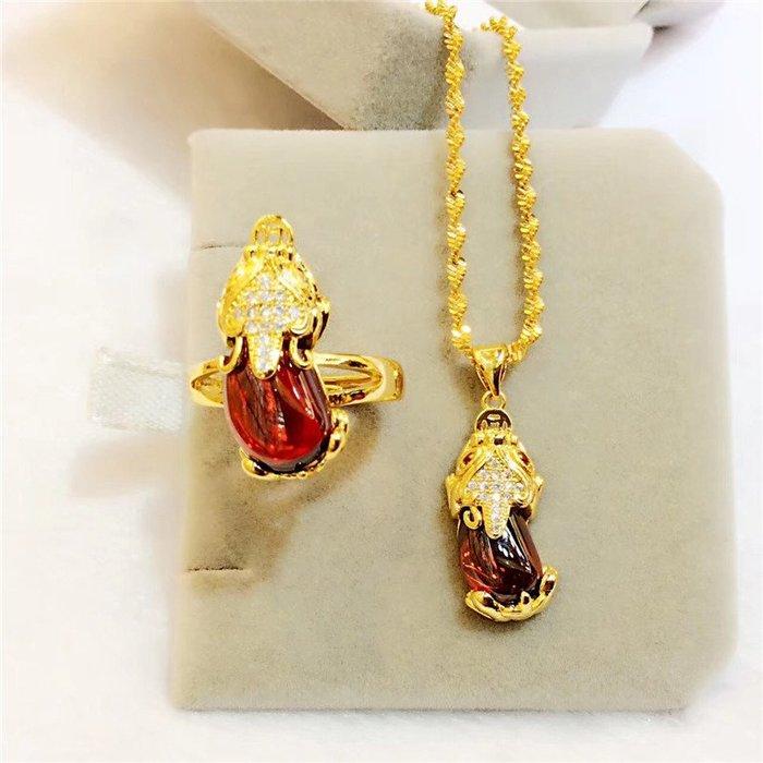 送禮佳品 鍍金歐幣飾品女鑲鉆紅寶石貔貅戒指辟邪仿金越南沙金首飾久不掉色