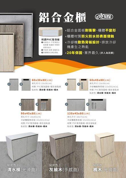 *海葵達人*E-CA90 台灣精品ISTA伊士達鋁合金覆合板木櫃(90*45*80cm)灰榆木