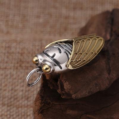 匠心之作飾品925純銀時尚飾品 個性創意泰銀復古鑲銅知了吊墜男女項鍊銀掛墜