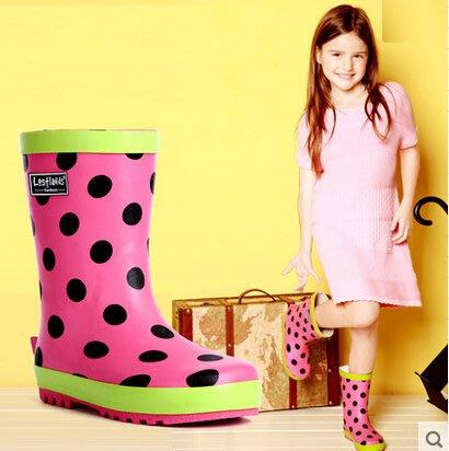 好雨時節 兒童卡通雨鞋女孩女小童雨鞋雨靴 可愛圓點雨鞋兒童雨鞋