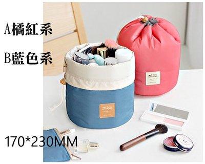 【台中好物】 韓國熱銷 圓底大容量抽繩束口收納包 外出旅行盥洗包 衣物收納 防水收納包 化妝包 漱洗包