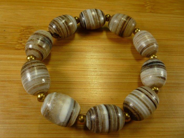 千年出土珠【珠添神聖】反璞歸真早期老件顆顆包漿皮殼結晶鈣化層層纏絲手磨隨型珠藥師珠手鍊手串~5