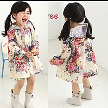 (我就是女王)大人款,女童小童兒童雨衣韓國時尚甜美花朵可愛學生大帽檐雨披防水服親子S-4XL