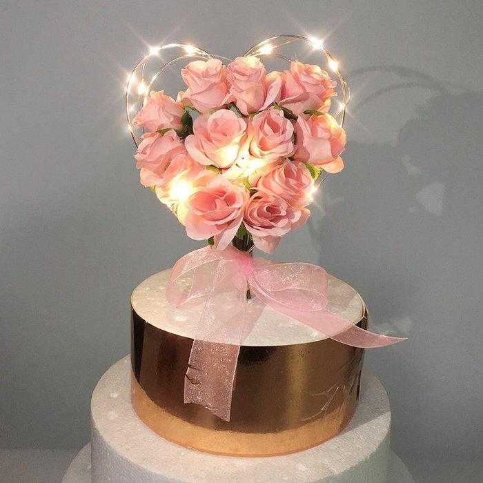 新品上市#仿真花蛋糕裝飾網紅粉玫瑰鐵藝愛心插件母親節情人節生日示愛插牌