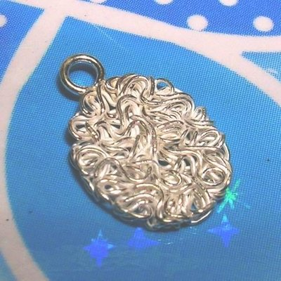 琥珀貓~【925純銀材料配件】墜飾~N9041~銀絲橢圓型~一個
