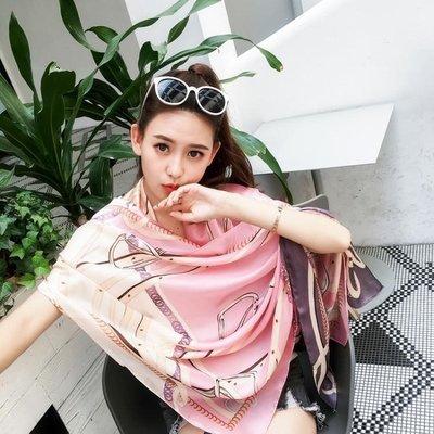 韓版絲巾女春夏季拼色百搭薄款圍巾海邊沙灘防曬披肩兩用印花紗巾