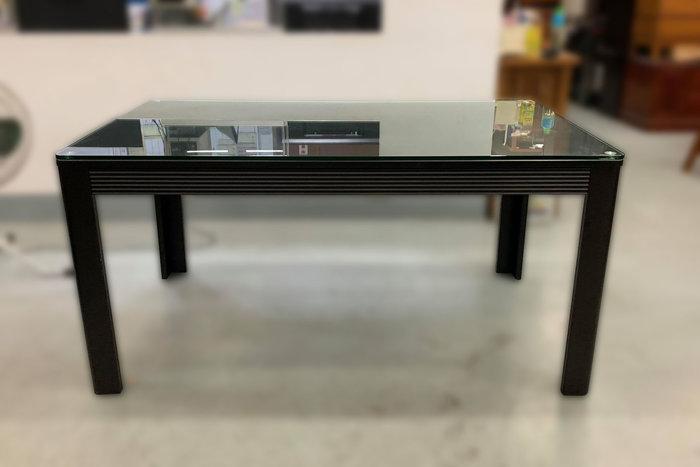 【宏品二手家具館】全新中古傢俱拍賣 E80403*胡桃木玻璃餐桌*書桌 辦公桌 茶几 新竹苗栗桃園床組床架