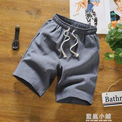 男士短褲亞麻短褲舒適寬鬆大碼短褲男棉麻五分褲中國風麻料純色褲