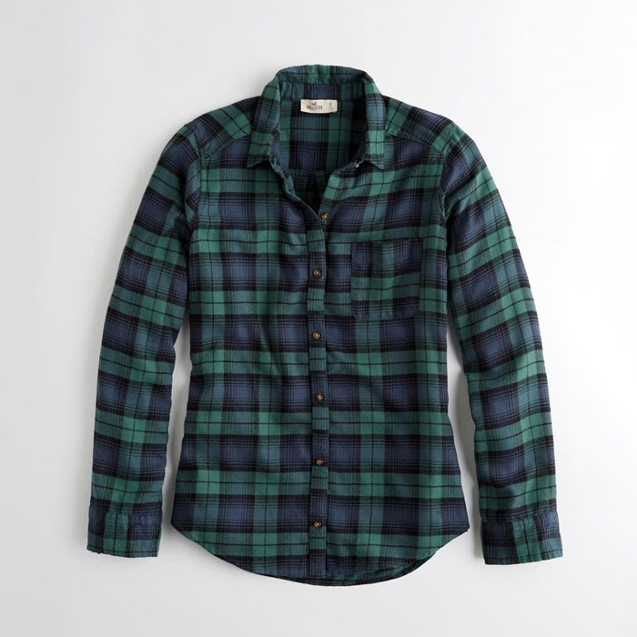 Hollister 女生 法蘭絨格紋襯衫 長袖襯衫 格子襯衫 薄款 HCO 非 AF Abercrombie F025
