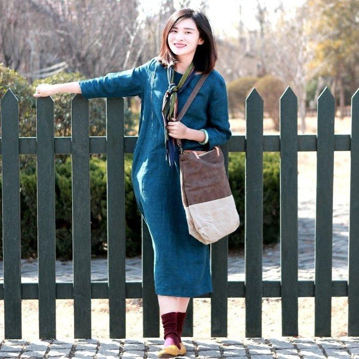 【鈷藍家】棉麻臆想 星晴春季新款七分袖拼接純色亞麻連身裙寬鬆中長袍子