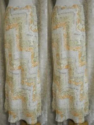 ~麗麗ㄉ大碼舖~M(26吋)米桔色印花側拉鍊長裙~全賣場3件免郵~小碼拍賣