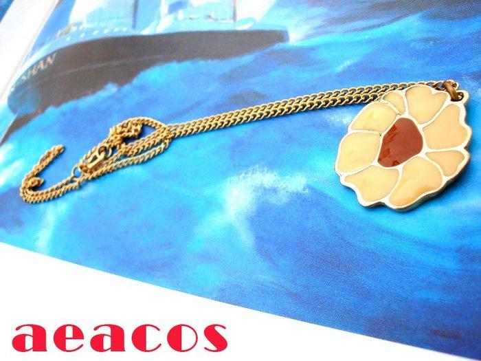 AEACOS@古董 古著 vintage retro MODs 可愛米黃+咖啡琺瑯花朵兒項鍊