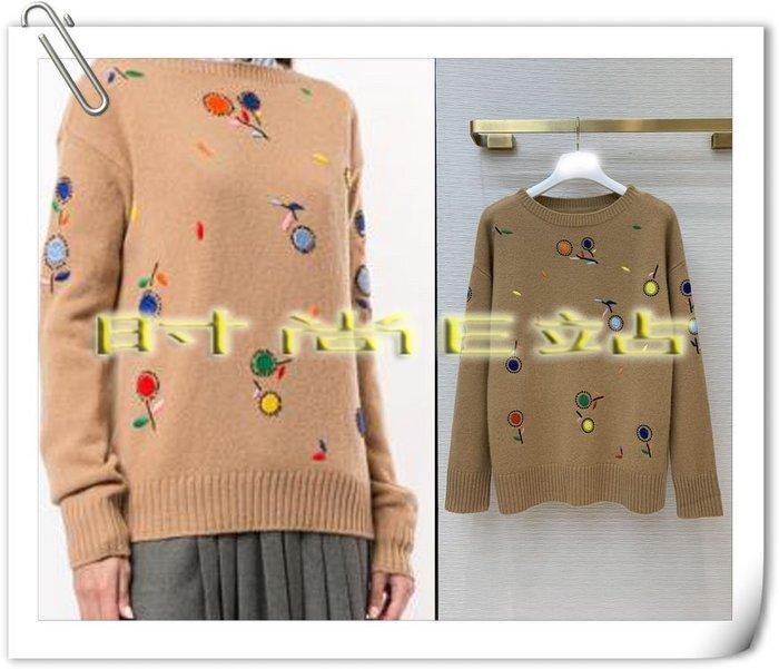 高端版【~SSEZ~】9170915169 原版刺繡小花朵羊絨針織衫  S M L