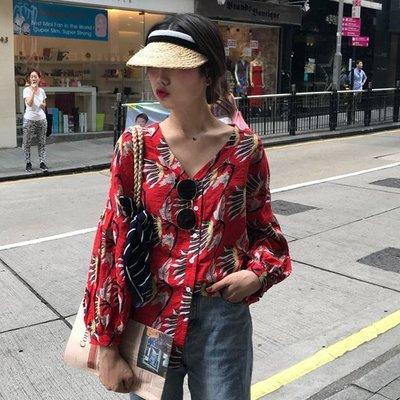 夏季 減齡百搭復古寬松V領花朵印花單排扣襯衫女防曬衫